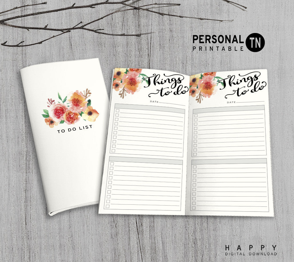 Printable Travelers Notebook To Do List Insert - Personal TN - Flower