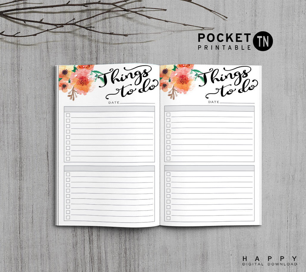 Printable Travelers Notebook To Do List Insert - Pocket TN - Flower