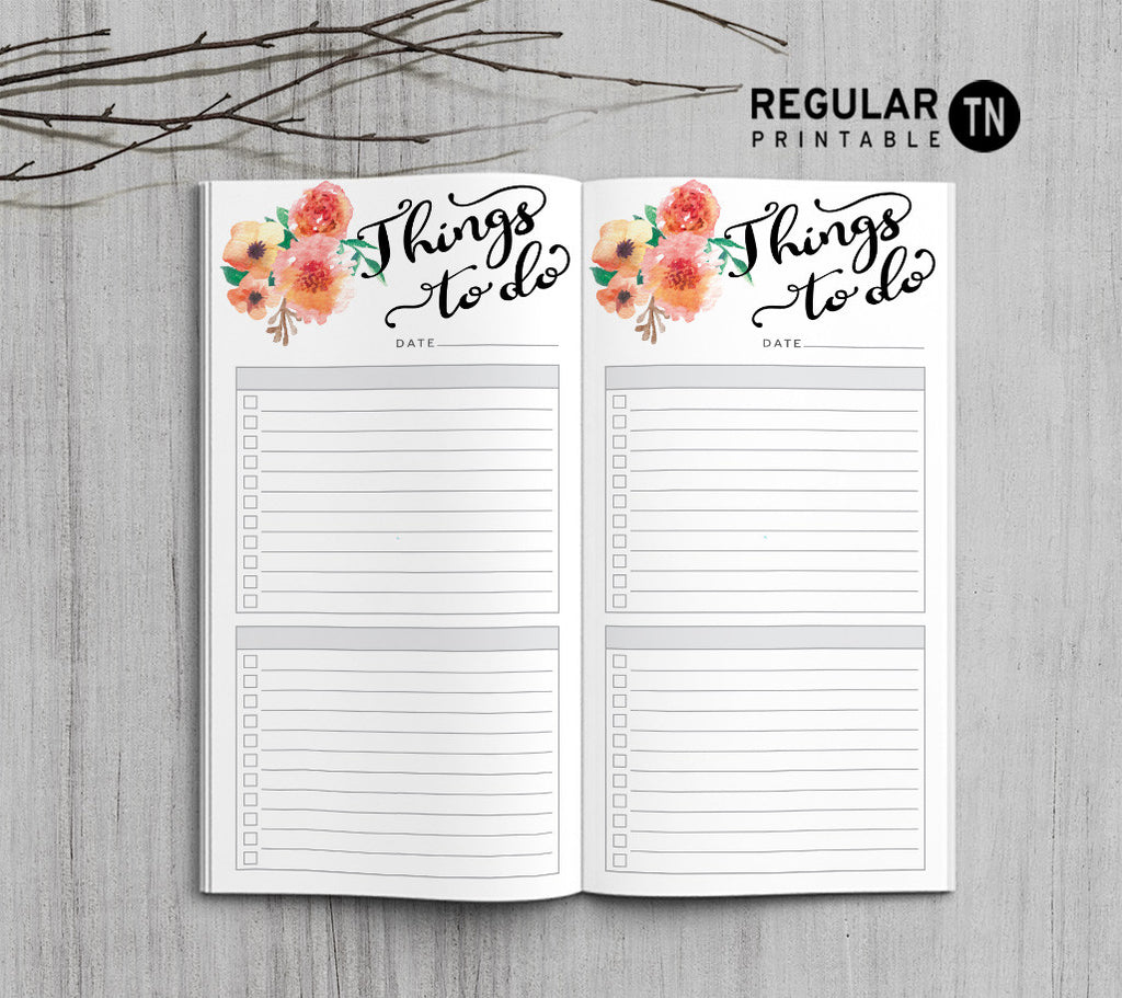 Printable Traveler's Notebook To Do List Insert - Regular TN