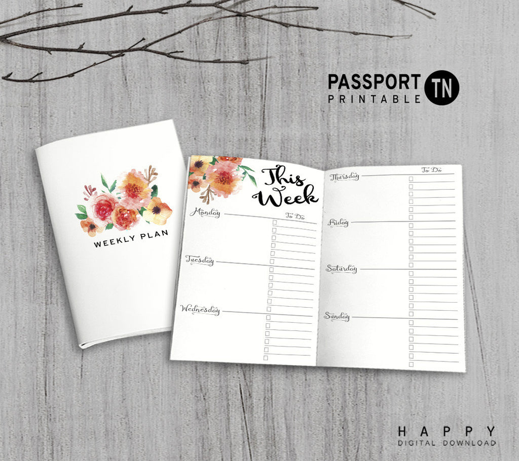 Printable Traveler's Notebook Weekly Insert - Passport TN - Flower