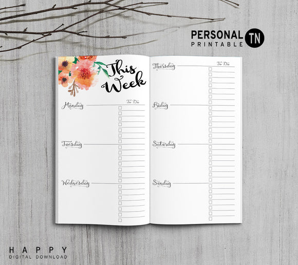 Printable Traveler's Notebook Weekly Insert - Personal TN - Flower