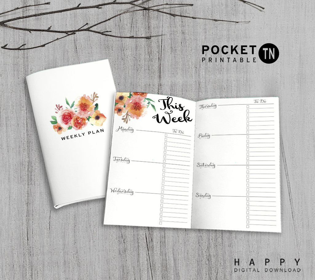 Printable Travelers Notebook Weekly Insert - Pocket TN - Flower