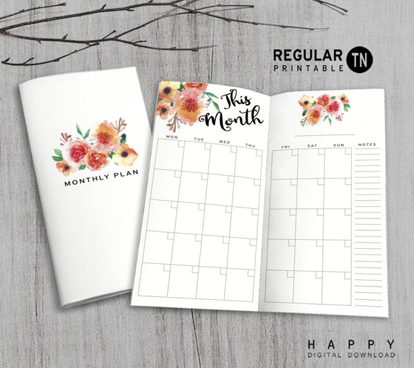 printable monthly planner inserts for midori traveler u0026 39 s notebook - mtn regular
