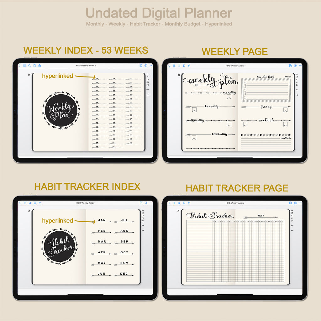Digital Planner Undated - Monthly / Weekly / Arrow