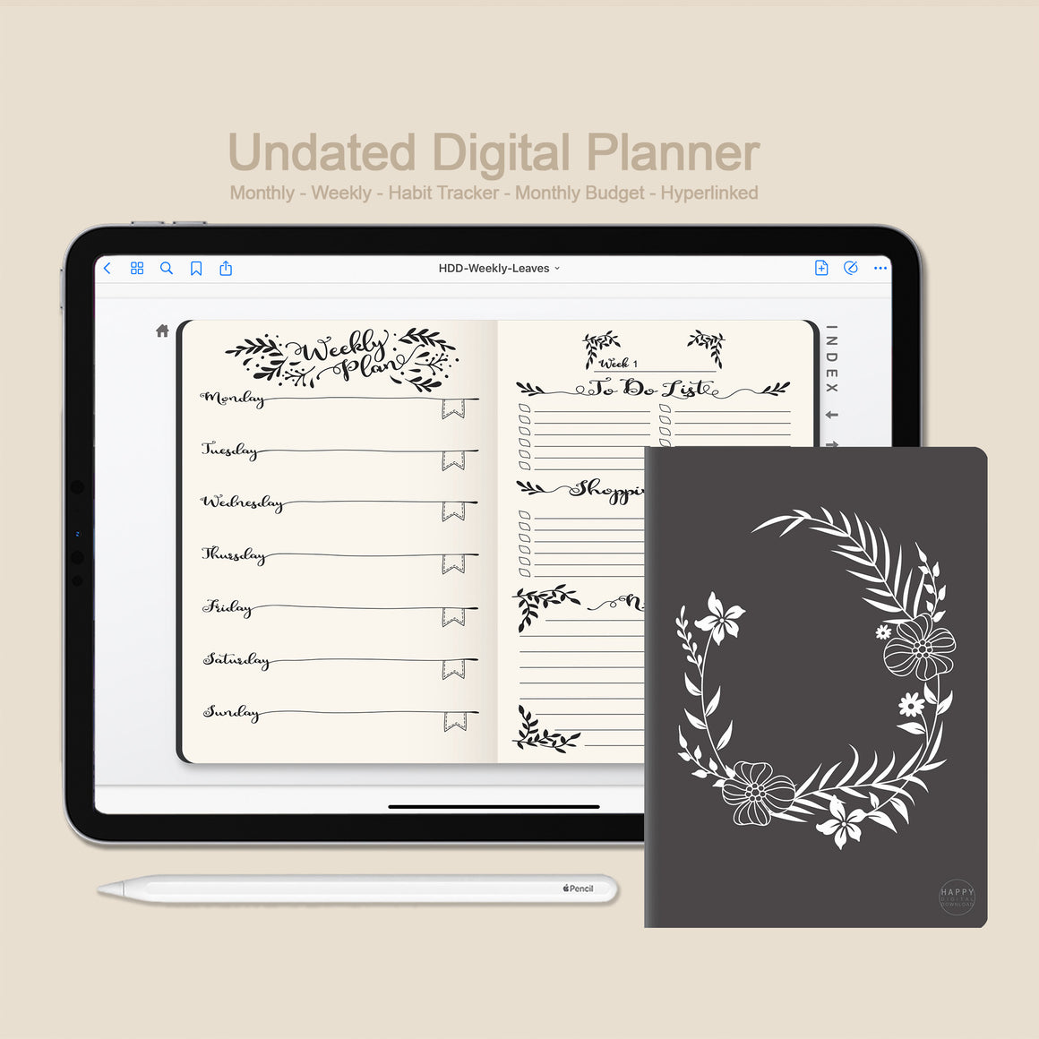 Digital Planner Undated - Monthly / Weekly / Leaves