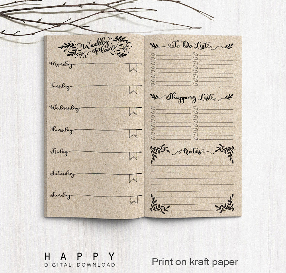 photograph relating to Free Printable Traveler's Notebook Inserts titled Printable Travellers Laptop Weekly Add - Every month TN
