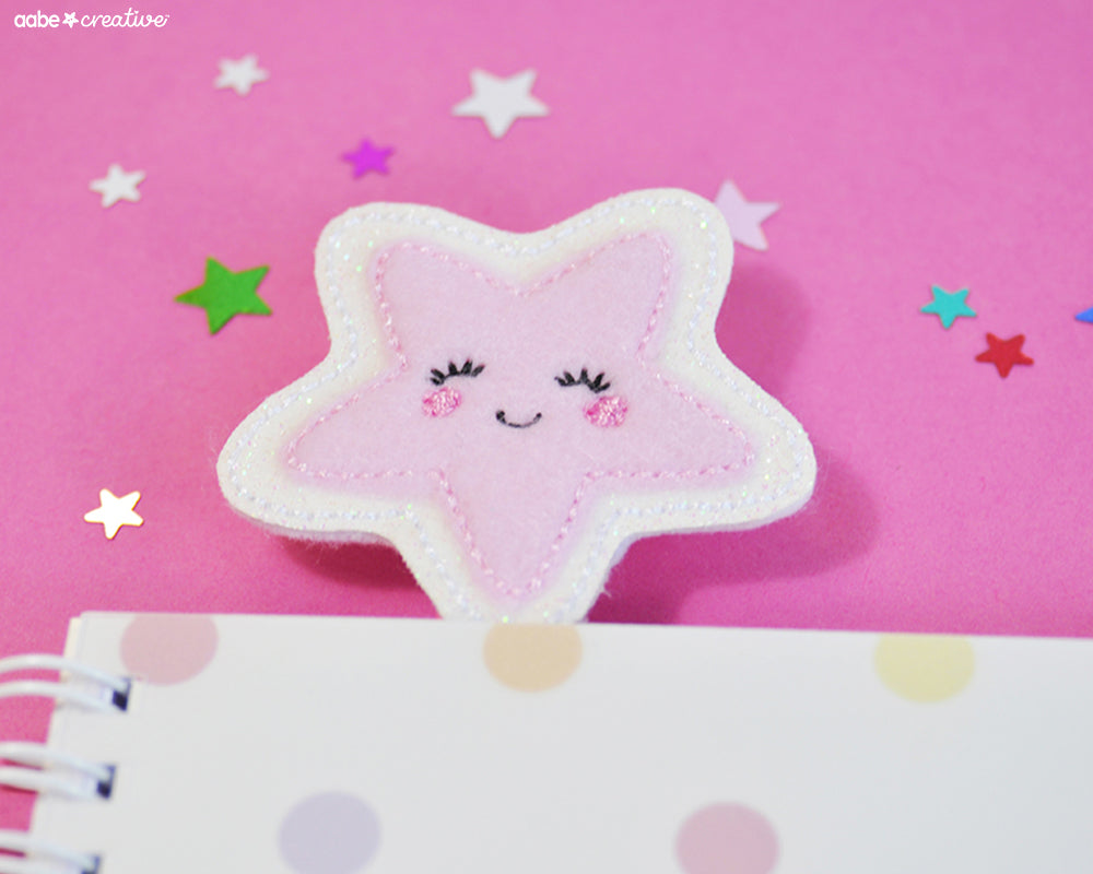 Cutie Star (pink) Bookmark - Handmade by aabe creative