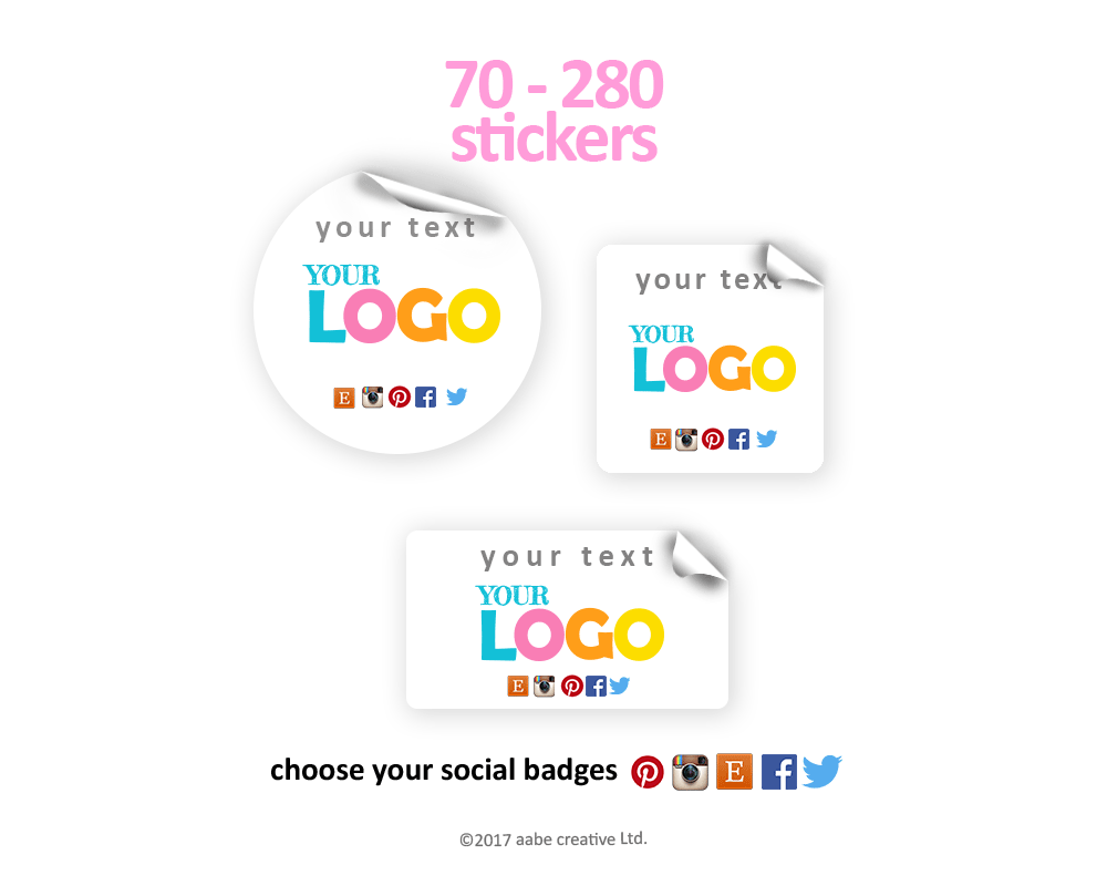 Custom Logo + Your Text + Social Media Stickers - Handmade by aabe creative