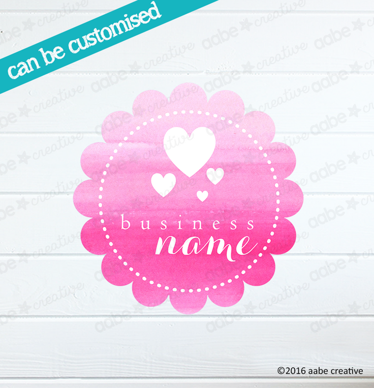 HEARTS Pre-made Logo Design - Handmade by aabe creative