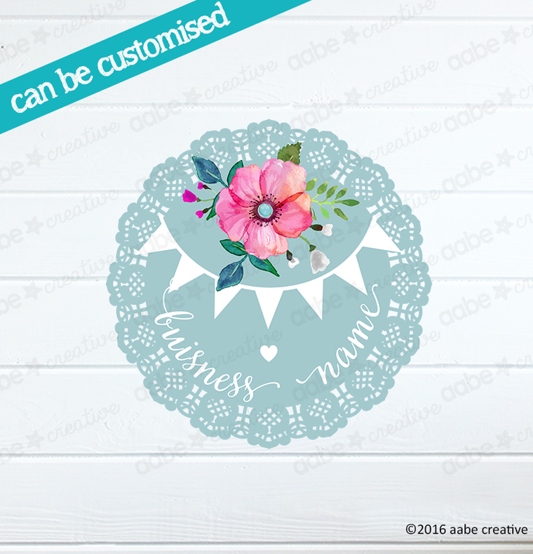 BUNTING LACE #2 Pre-made Logo Design - Handmade by aabe creative