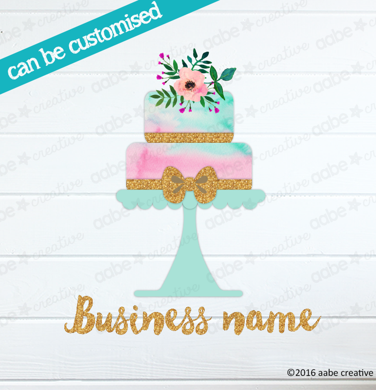 BOW CAKE Pre-made Logo Design - Handmade by aabe creative