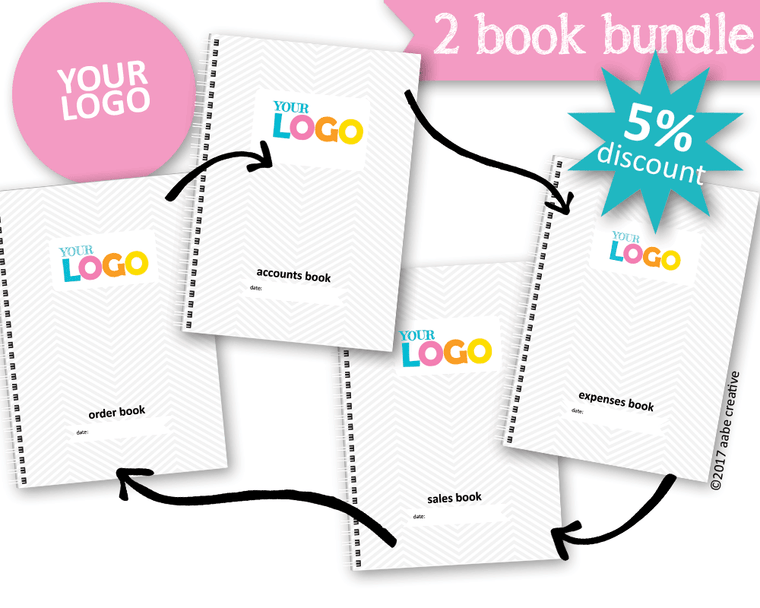 2 Book Bundle: Basic Custom Business Books - Handmade by aabe creative