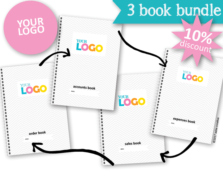 3 Book Bundle: Basic Custom Business Books - Handmade by aabe creative