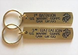 1st, 2nd or 3rd Battalion Gold Bar Keychain Keychains