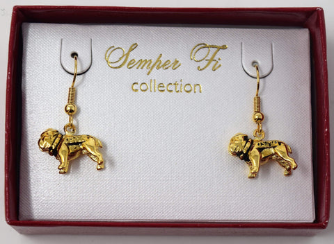 3D Gold Bull Dog Earrings Jewelry