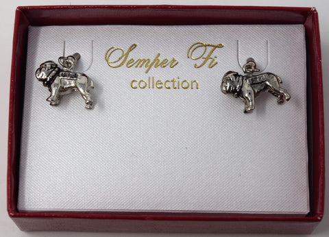 3D Silver Bull Dog Earrings Jewelry