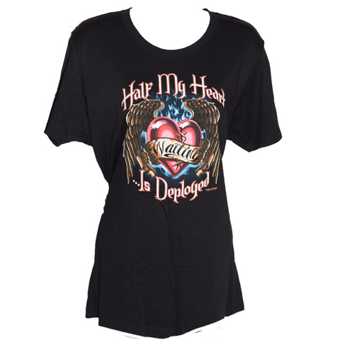 Ladies Half My Heart Is Deployed Graphic T-Shirt