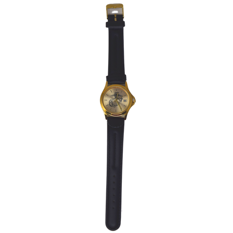 Marine Gold Face Watch with Black Leather Strap