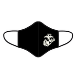 Black Marine Corps face mask with Eagle, Globe, and Anchor design on left cheek.