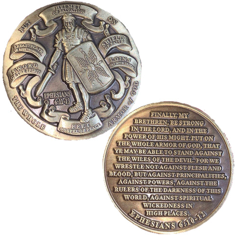 Armor Of God Challenge Coin - Ephesians 6:10-12 Challenge Coins