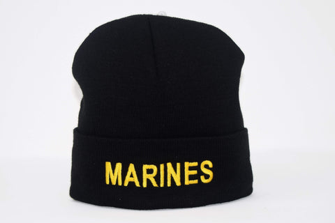 "Black Beanie with ""Marines"" Hats"