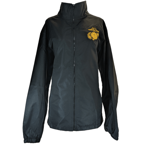 Black Marine Corps Windbreaker Outerwear