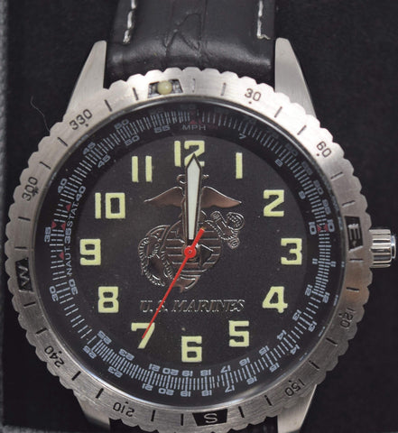 Black Watch with EGA  & Leather Wristband Watches