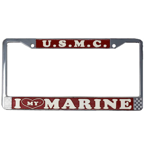I Love My Marine License Plate Frame License Plate
