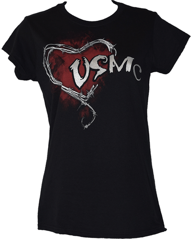 Ladies Barbed Wire Heart USMC T-Shirt T-Shirt