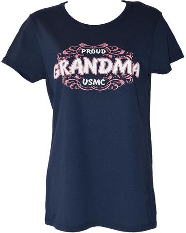 Ladies Proud Grandma T-Shirt - Navy Blue T-Shirt
