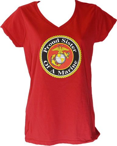 Ladies Proud Sister Of A Marine V-Neck T-Shirt - Red T-Shirt