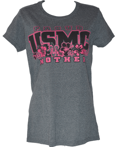 Ladies Proud USMC Mother Hibiscus Shirt T-Shirt