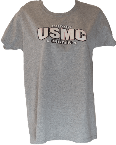 Ladies Proud USMC Sister Shirt - Grey T-Shirt