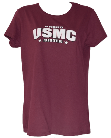 Ladies Proud USMC Sister Shirt - Maroon T-Shirt