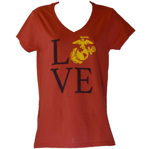 Ladies V-Neck Love T-Shirt - Red T-Shirt