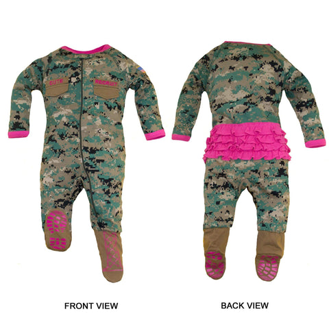 Marine Woodland Girls Onsie Crawler with Boots Youth Apparel