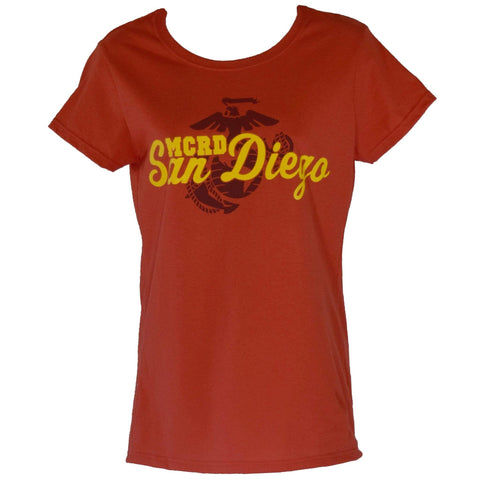 MCRD San Diego Ladies Shirt -Red shirt