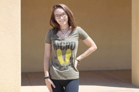 MCRD Yellow Footprint V-neck In Green shirt