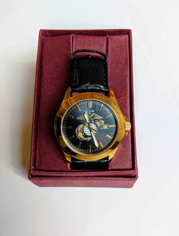 Men's EGA Black & Gold Watch with Leather Strap Watches