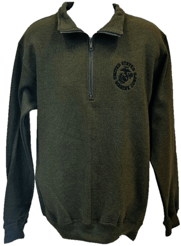 Men's EGA Circle Fleece Quarter (1/4) Zip Pullover in OD Green Outerwear