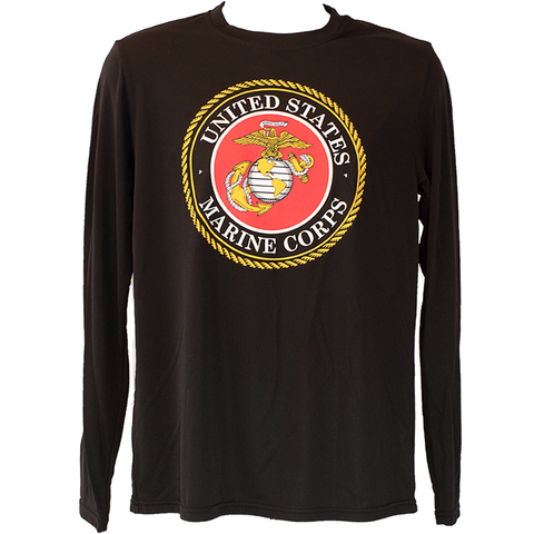 Men's Marine Emblem Black Long Sleeve T-Shirt