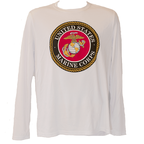 Mens Marine Emblem White Long Sleeve T-Shirt