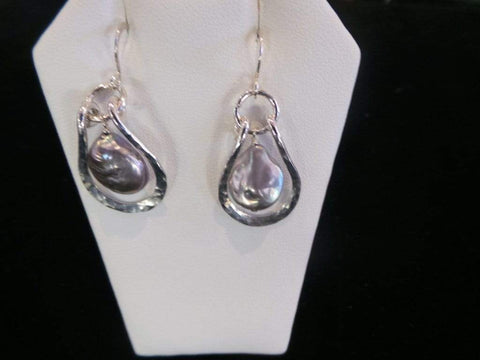 Pearl Hoop Earrings - Silver Jewelry