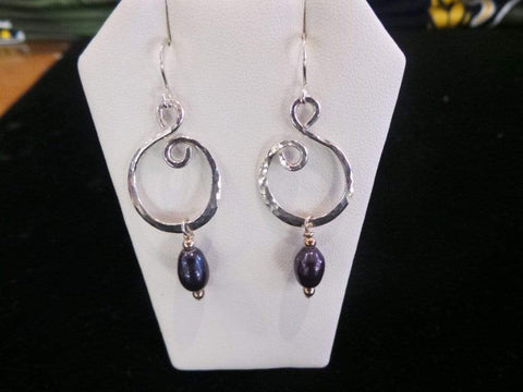 Purple Pearl Hoop Earrings - Silver Jewelry