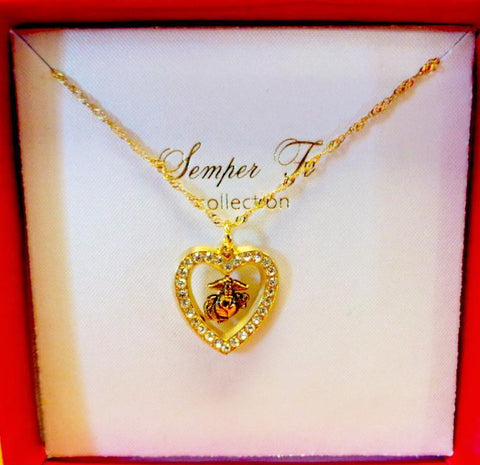 Rhinestone Heart EGA Necklace Jewelry