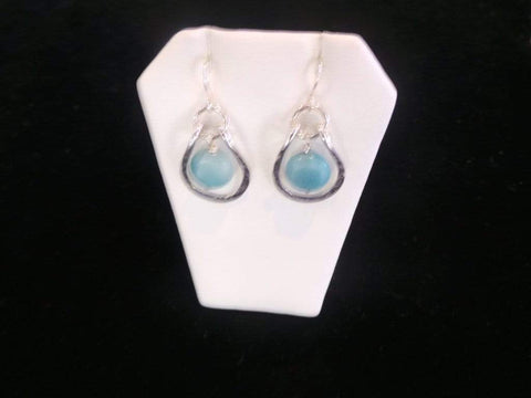 Silver Amazonite Hoop Earrings Jewelry