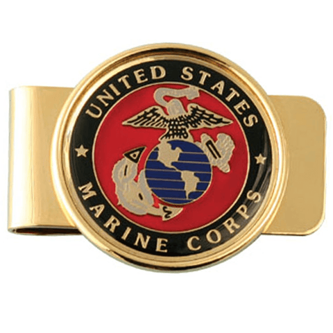 USMC Crest on Gold Money Clip Money Clip