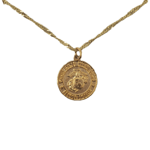 USMC Gold Charm Necklace Jewelry