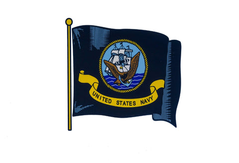USN Wavy Flag Decal Stickers