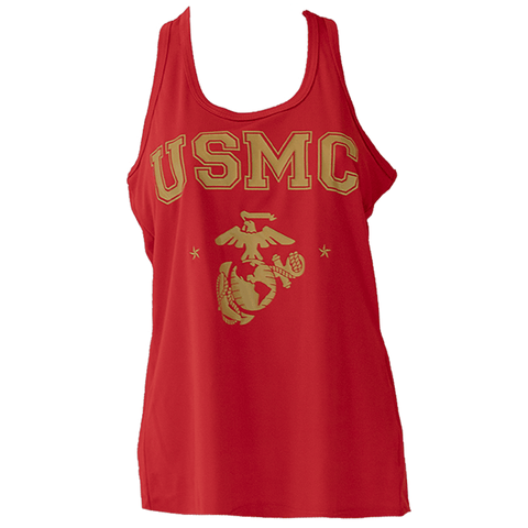 Womens USMC Racerback Red Tank T-Shirt